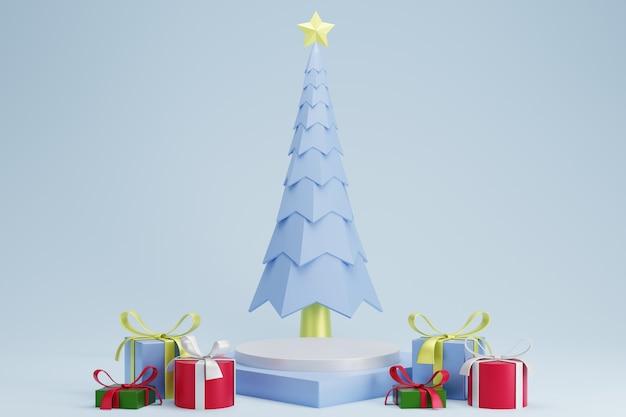 Abstract 3d wit blauw vierkant voetstukpodium met kerstboom en cadeautjes