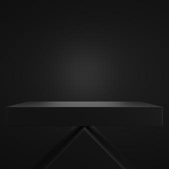 Abstract 3d zwart vierkant voetstukpodium met zwarte muurscène