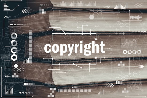 Abstract auteursrechtconcept grafisch op boekenachtergrond.