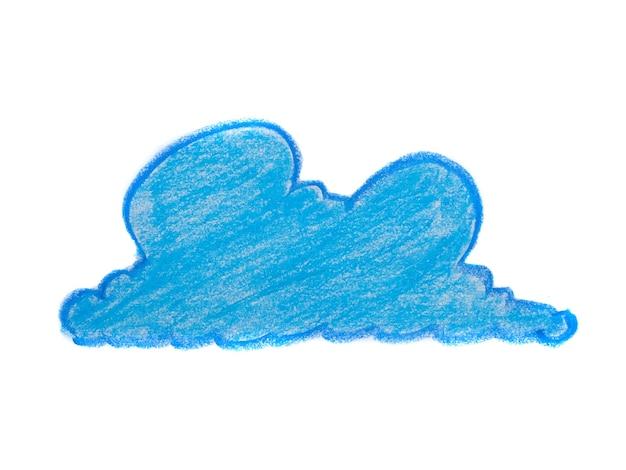 Abstract beeld met wolkachtige vorm, crayon krabbelde textuur. handgetekende kleurpotloden