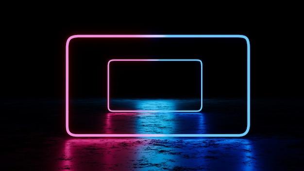 Abstract blauw en paars neonlicht. 3d render
