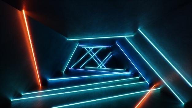 Abstract blauw en rood interieur met neonlicht.