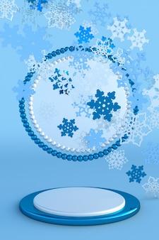 Abstract blauw feestelijk 3d-podium met kerstsneeuwvlokken creatief wintermodel voor nieuwjaar