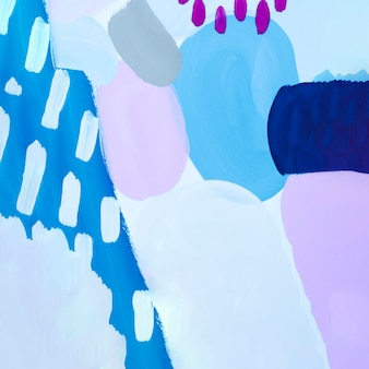 Abstract blauw schilderij met paarse stippen