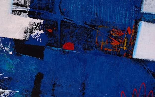 Abstract blauw vormolieverfschilderij op canvasachtergrond met textuur.