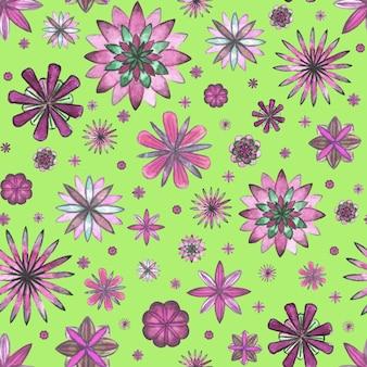 Abstract bloemen etnisch boho naadloos patroon. aquarel hand getekend roze magenta paarse bloemen op gras groene achtergrond. behang, verpakking, textiel, stof
