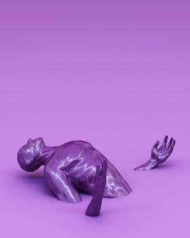 Abstract concept kleurrijk van mannen zijn geplakt op de vloer. 3d-weergave