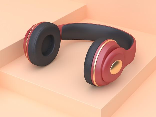 Abstract crã¨me scène rood goud koptelefoon muziek technologie concept 3d-rendering
