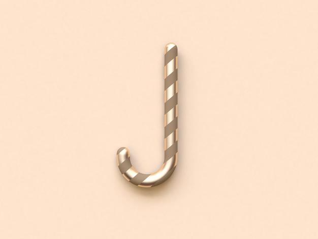 Abstract curve kerstmis snoep bruin goud 3d-rendering