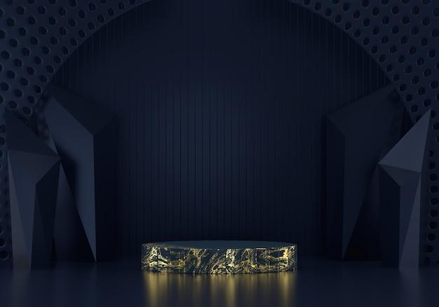 Abstract diepblauw podiumplatform, voor de weergave van reclameproducten, 3d