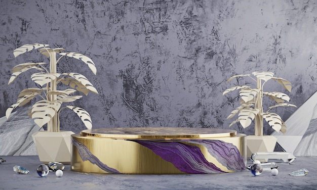 Abstract elegance luxe gouden podium platform, voor reclame producten weergeven, 3d-rendering.