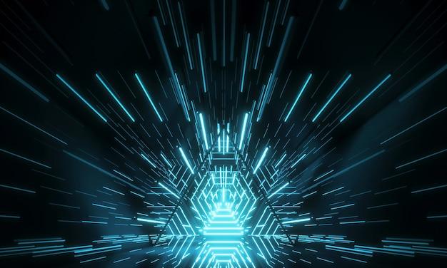 Abstract futuristisch technologieconcept. neon zeshoekige tunnel moderne achtergrond. fluorescerende ultraviolette gloeiende lichtlijnen. 3d-weergave