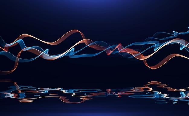 Abstract gekleurde golvende impulslijn gloeien bij reflectie puls hoogspanningslijnen muziek s
