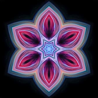 Abstract gekleurde neonbloem op een zwarte achtergrond. het element voor het ontwerp is een lichtgevende bloem