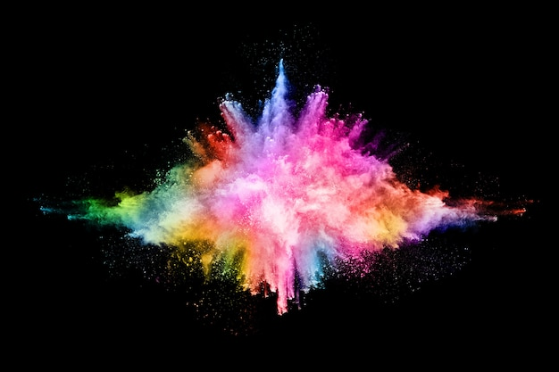 Abstract gekleurde stofexplosie op een zwarte achtergrond