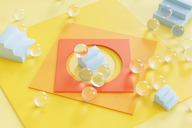 Abstract geometrisch geel oppervlak met vierkant papier, blauwe trappen en glazen bollen. 3d-rendering illustratie.