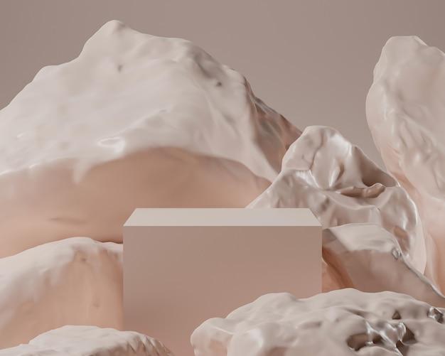 Abstract geometrisch met realistische steen en rotsvorm.gebruik voor cosmetische of productpresentaties. 3d-rendering en illustratie.