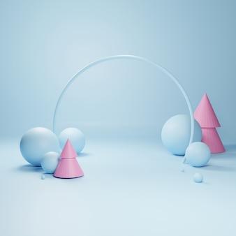 Abstract geometrisch podium, lege minimalistische lege showcase sjabloon, moderne art deco winkel display, pastelkleuren. 3d render.
