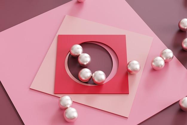 Abstract geometrisch roze oppervlak met vierkante papieren kaarten en metalen bollen. 3d-rendering illustratie.