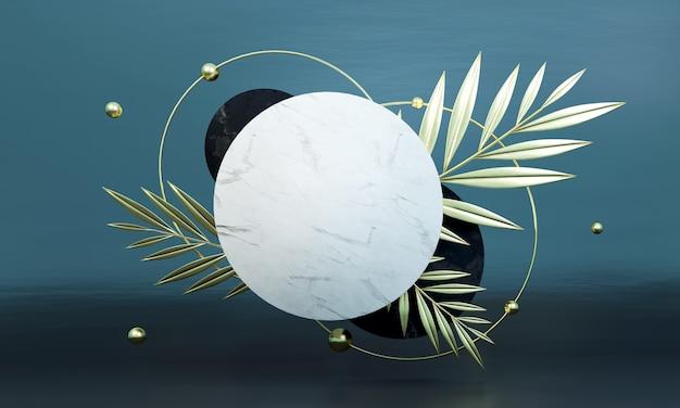 Abstract geometrisch steendecor door palmbladeren. mockupscène voor product