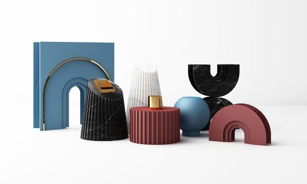 Abstract geometrisch vorm minimaal concept kleurrijk met marmeren textuur, het 3d teruggeven