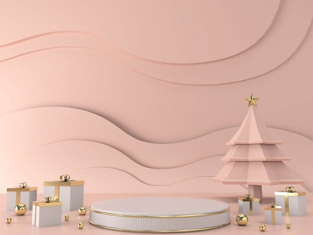 Abstract geometrische vorm kerstboom scène concept decoratie 3d-rendering