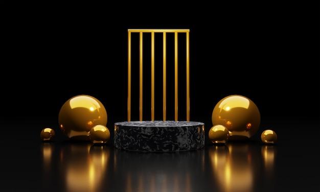 Abstract gouden geometrisch podium met vormen