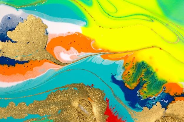 Abstract helder marmer met gouden glitter fluorescerende illustraties vloeibare verf achtergrond
