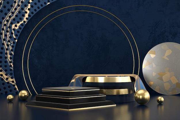 Abstract het platformpodium van het luxe zwart en gouden stadium, voor de vertoning van het reclameproduct, het 3d teruggeven.