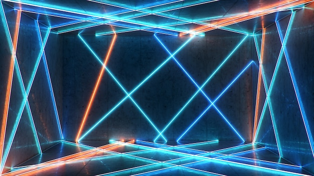 Abstract interieur met blauw en rood neonlicht.
