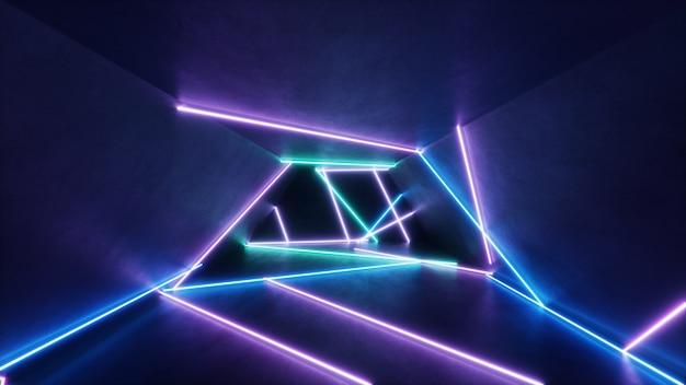 Abstract interieur met blauw en roze neonlicht.