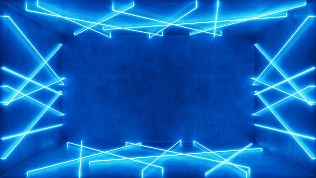 Abstract interieur met blauw neonlicht.