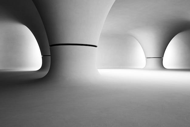 Abstract interieur van moderne showroom met lege grijze vloer en gladde betonnen muur