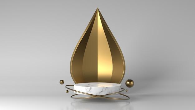 Abstract luxe gouden en wit marmeren showcase podium voor productplaatsing