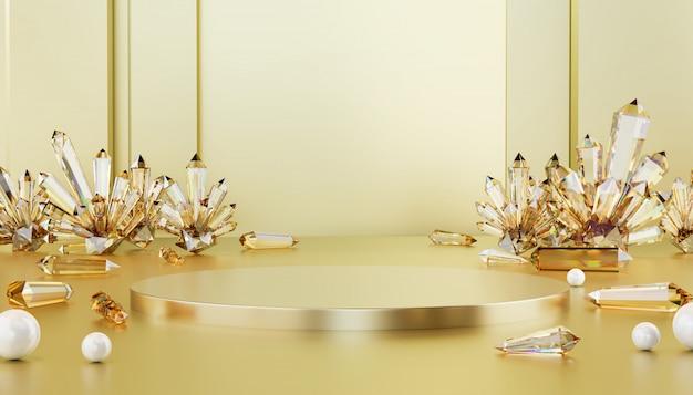 Abstract luxe gouden metaalstadium met bijtende kristal en parelbal, malplaatje voor reclameproduct, het 3d teruggeven.