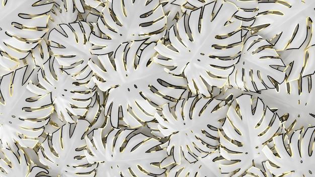 Abstract luxe idee. concept wit en goud, 3d render.