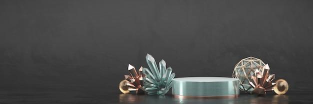 Abstract luxe podiumplatform met kristal voor de weergave van reclameproducten, 3d-rendering.
