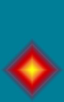 Abstract meerlagig rood en geel 3d-vierkant op groenblauw achtergrond