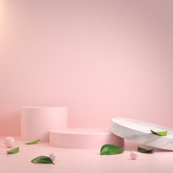 Abstract minimaal modern roze podium en bladeren 3d render
