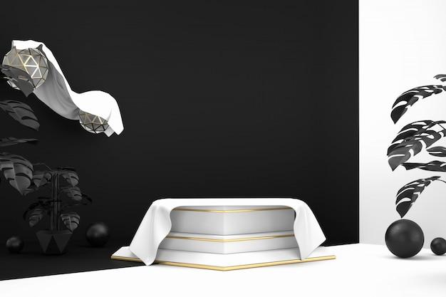 Abstract minimaal podium voor productvertoning huidige achtergrond, 3d-rendering.