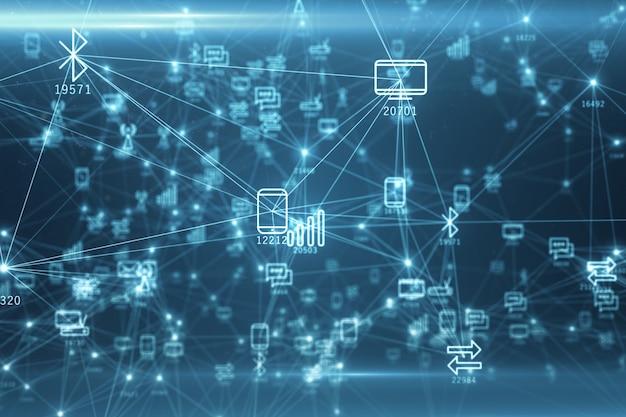 Abstract netwerk van fysieke apparaten op het internet met behulp van een netwerkverbinding met statistische nummers