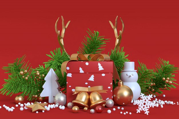 Abstract object kerstdecoratie 3d-rendering rood goud