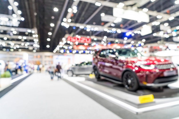 Abstract onscherpte en onscherpe auto en motor tentoonstelling show evenement