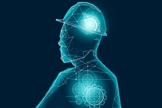 Abstract ontwerp van tandwielen in menselijk hoofdoverzicht.