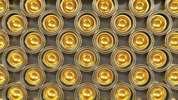 Abstract patroon van gouden vormen 3d render
