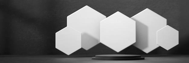 Abstract podium met zeshoekig platform voor productreclame en commercieel