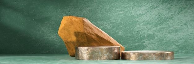 Abstract podium stand platform met steen voor productreclame en commerciële achtergrond