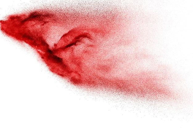 Abstract rood stof dat op wit wordt geploeterd