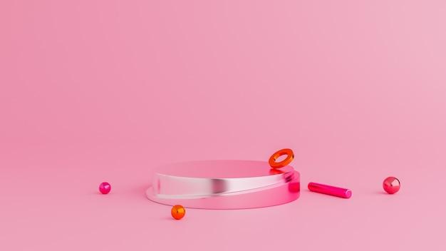 Abstract roze de kleurenpodium van de achtergrondmeetkundevorm. minimaal concept.