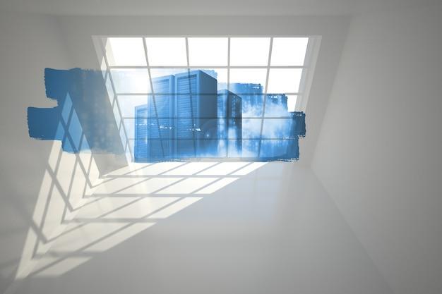 Abstract scherm in de kamer met servertorens